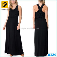 Slim fit sleeveless draped front maxi dress ladies long maxi dress