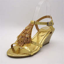 OEM high quality new design fashion sandals 2014 golden beaded flat sandals