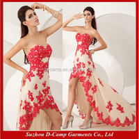 OC-2351 Cheap red lace short front long back cocktail dress for teenagers cocktail party dress long tail cocktail dress
