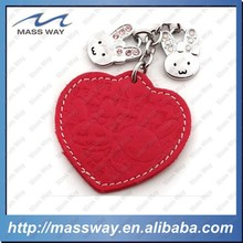 customized promotion fashion rabbit 3d heart metal red leather keychain