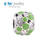 Enamel And Silver Dot Jewelry Sterling 925 Silver Beads For Semi Precious Stone Bracelet YZ578