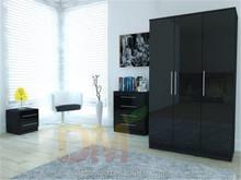 High quality Glossy black bedroom sets furniture