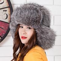 Women Plush Faux Fox Fur Stuffed Warm Winter Ear Warmer Hat NEW Outdoor Ski Hat High Quality Trapper Hats Winter Russian Hat