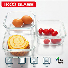 Eco Friendly Silicone Lid Glass Lunch Box Square Glass Food Storage Containers