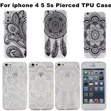 Wholesale Unique Black White Flower Printing Dream Catcher Gel Soft TPU Case Cover For iphone 5 5s 4 4s