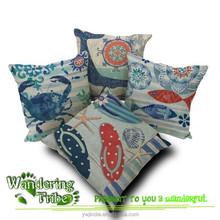 2015 Mediterranean print Navy Blue Sea Whale crab beach shoes Cushion Cover cotton and linen fish Pillow cases Nautical IKEA