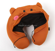 Customize cartoon animal pattern sublimation printed beads message u cushion office nap hooded neck pillow