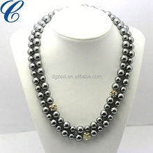 PremiumPearl Double Strand black Freshwater Pearl Necklace AAA Quality