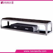 MDF panel Black glass bottom surface marble top modern design tv cabinet