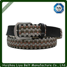 2015 Fashion casual Leather Men's Belt With Beaded/homens estilo casual