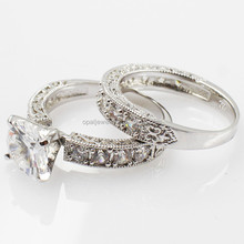 Factory Directly MOQ 5pcs/design Engagement Silver Diamond Rings Set