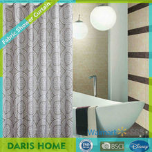 Printed Circle Pattern ,Bathroom Mildew Proof Polyester Fabric Shower Curtain.
