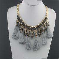 crystal beads necklace unique black rope braided silk cord necklace designs