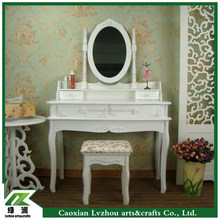 white wood antique vanity dresser with mirror and stool