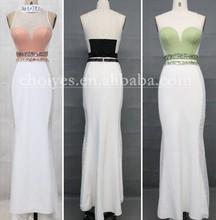 AO50783 New Fashion High Neckline Beading and Pearls Sheath 2015 Two Piece Chiffon Prom Dresses