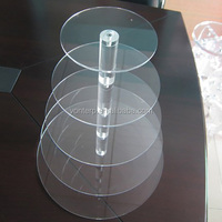 5 tiered round clear cupcake holder for birthday show acrylic cake display stand Acrylic Party Cupcake Stand
