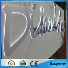 LED backlit stainless steel alphabet logo sign for store advertising