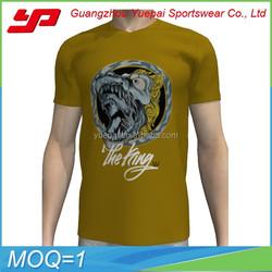 Sublimation printing 3d pattern men t shirt simple design v-neck comfortale 100% cotton t shirt