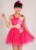 2015 girl's costumes performance clothing sequins dance veil Kindergarten pupils dance skirt