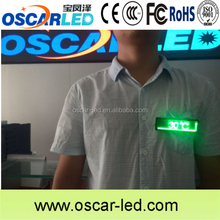 Small chest plastic plate /green/blue/yellow led name badge