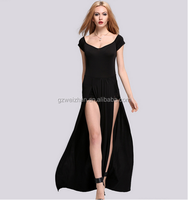 2015 Hot sale ladies sexy Strapless Lace stitching short sleeveless split long dress