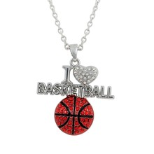 I love basketball necklace rinestone sport ball necklace red and black enamel neckace