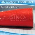 nueva llegada de brillo de color rojo de fibra de carbono del cuerpo del coche etiqueta de papel para la decoración del coche