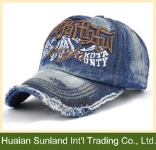 OEM hot selling 6 panel embroidery jeans baseball cap