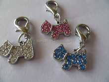 DIY full rhinestone Zinc alloy charms dog pendants