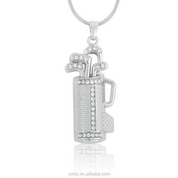 New Arrival Single Side Silver Crystal Golf Bag Penholder Pendant Necklaces