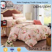 Pretty custom flower printed light colored factory custom print bedding