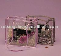 2014 China large clear vinyl pvc zipper bags with handles for shopping