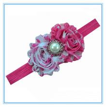 Double Shabby Chic Flower Headbands With Rhinestone Center Baby Headbands Infant Girls Flower Hairband