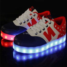 Boy and gril lovers light shoes colorful LED rechargeable N letters of leisure sports shoes wholesale