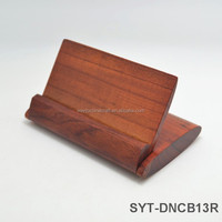 High end wood folding business card holder