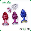 Colourful Metal sex toys chrome plated jeweled butt plug hot selling