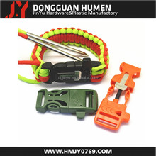 "New arrival 3/4"" side release whistle buckle/plastic whistle buckle/survival bracelet whistle buckle for bag"