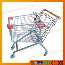 Cromado dirección superficial supermercado carrito de la compra con asiento para niños