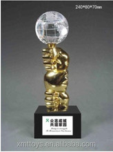 hot sell metal trophy cup with crystal ball