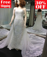 Free shipping strapless memaid floor-length adjustable train wrap lace up wedding dress 7001