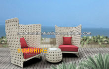 GuangDong White Wide Weave Rattan Furniture patio set