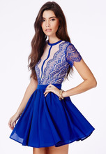 China manufacture clothes navy blue fashion lace women clothing