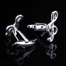 High-end music note zinc alloy plated cufflinks