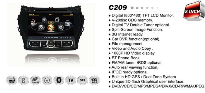 WITSON para HYUNDAI Santa Fe/ix45 2013 DVD del coche con A8 Chipset Plataforma S100