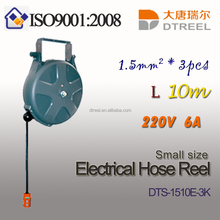 1.5mm2 3pcs L 10m 220V6A LED light type DTS-1510E-18WL small size electrical hose reel cable reel switch reel