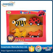 wooden children animal pull car educational toys