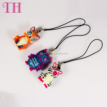 lower price good quality resin and nylon lovely animal shape mobile phone case chain for gift
