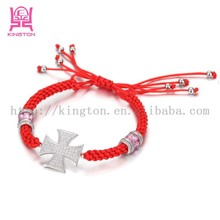 weaving rope bracelet with silver plated copper cross,fashion charm bracelet jewelry