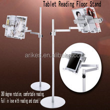 R-2 2015 new metal tablet floor reading book stand arm rotate tablet book reading floor stand arm rotate tablet floor holder