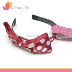 Red with white Dots Cute Hair band (Black)
